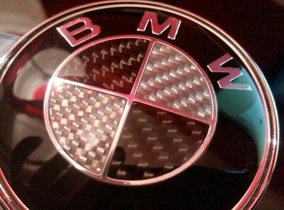 2 X Bmw Black & Silver Carbon 82Mm Front & 74Mm Back Badges Gloss Epoxy Resin