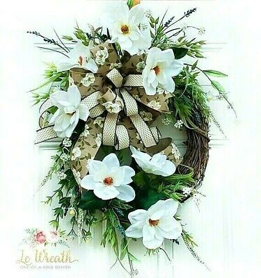 Magnolia Floral Door Wreath Spring Summer Farmhouse Home Decor
