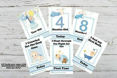 Baby Milestone Cards Pack of 29 Cards Boys Baby Shower Git Blue New Mum