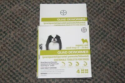 Bayer Quad Dewormer for Puppies and Small Dogs 2-25lbs 4 Chew tablets Exp 02/21