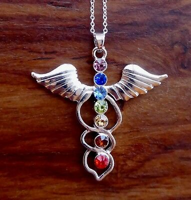 Silver Metal Necklace Angel Wings 7 Crystal Spiritual Pendant + Gift Bag, Chakra