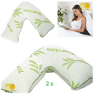 2 x Bamboo V Shape Pillow Memory Foam Neck Orthopaedic Pregnancy Support Pillow
