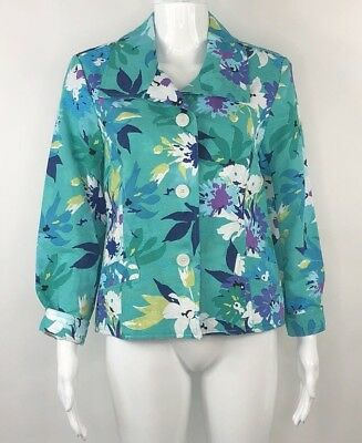 c0023253ae7 NWT Drapers and Damons Womens Sz Petite Small Cotton Floral Button Front  Jacket
