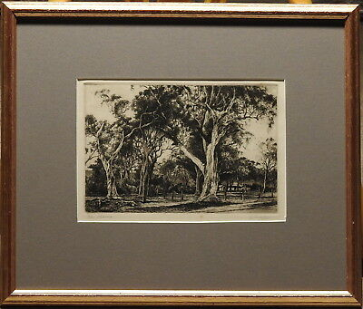 Ernest Warner (1879-1968) 1930s Original Etching The Clearing Cottage Giant Tree