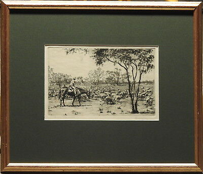 Ernest Warner (1879-1968) 1930s Original Etching Droving Sheep South Farewell
