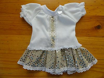 Baby Born Doll Cream T/shirt & Gold Small Dot  Sequin Skirt
