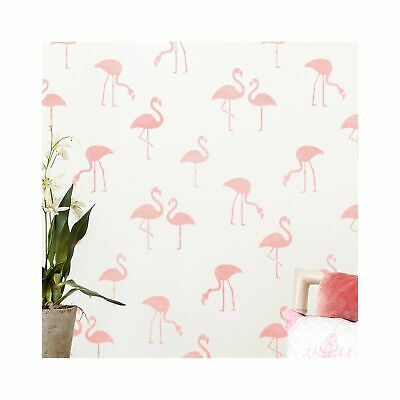 FLAMINGO FLOCK Tropical Nursery Stencil - Furniture Wall Stencil for Painting