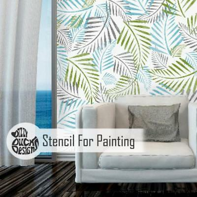 PALM LEAF Plant Stencil - Furniture Wall Floor Stencil for Painting