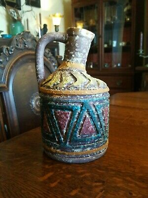 """Mid Century Pottery Stoneware Water Jug Pitcher  Hand Made in Italy 9"""" Tall"""