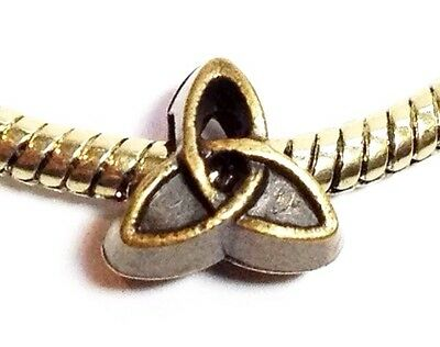 *CELTIC KNOT BRONZE*_Slider Bead for European Charm Bracelet_Triquetra Irish_E18