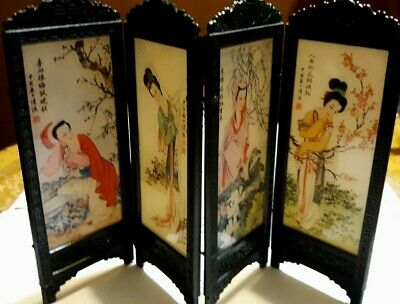Antique  Chinese Miniature Hand Painting One Side  Table Screen 9'' X 6'' Inch
