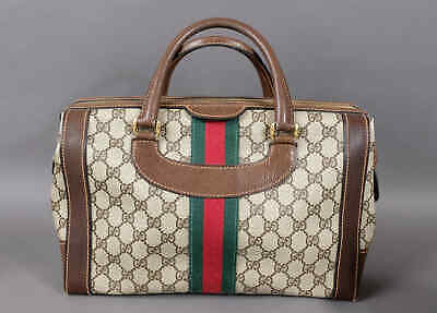 a2ffbb089581 Authentic Vintage GUCCI Web Boston Doctor Bag Satchel Speedy Purse Handbag  GG