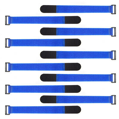 10 Pack Hook & Loop Ring Straps Cable Ties with Plastic Buckle Computers Wire