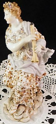 Antique Meissen Volkstedt Porcelain Lady Figurine Sitting Playing Double Flute