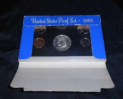 "U.s. Mint Proof Set Coins ""1969"" In Original Case, Nice Set Of 5 Coins!"