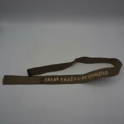 Vintage WWII World War 2 US Army Green Canvas Belt Named