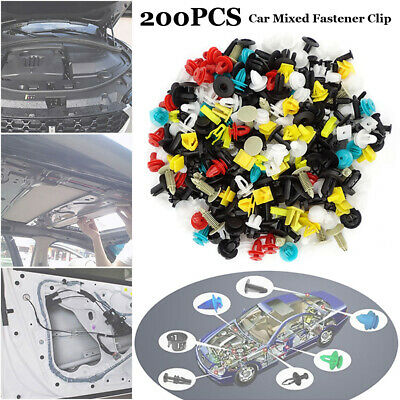 200PCS Car Trim Body Clips Kit Rivet Retainer Door Panel Bumper Plastic Fastener