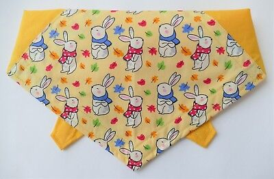 Spring Bunny Easter Dog Bandana, Cute Pet gift. 100% Cotton, Tie on, 7 Sizes!