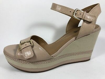 4447c42a1b1 Clarks Collection Zia Castle Nude Leather Ankle Strap Wedge Sandals Womens  10 M