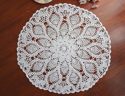 Cotton Hand Crochet Lace Pineapple Doily Doilies Placemat Round 50CM White FP05