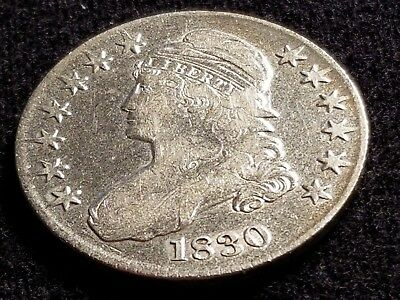 1830 Capped Bust Silver Half Dollar, full date, full liberty     H19