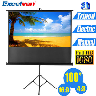 100''Manual/Electric Motorised Portable Projector Projection Screen Stand Tripod