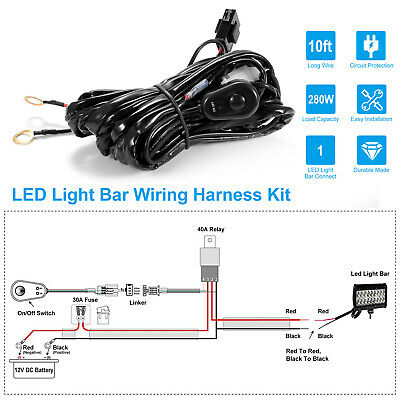 LED LIGHT BAR Wiring Harness Kit 280W 12V 40A Relay Fuse On ... on