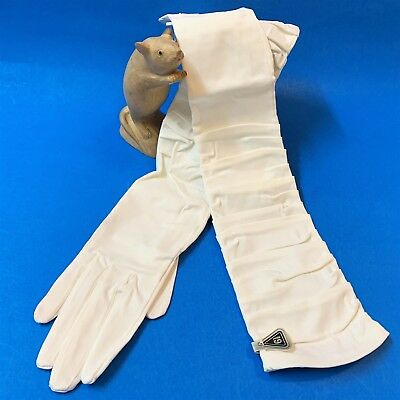 Immaculate Vintage White Evening Gloves, Size 6 1/2, Ruched Full Length Sleeves