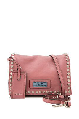 b20b342e6150 Pre-Owned Prada Glace Calf Etiquette Flap Bag 23cm (Pink; Calfskin Leather)