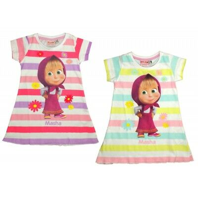 Girls Kids Masha And The Bear Summer 100% Cotton Dress Tunic Age 2-7 Years