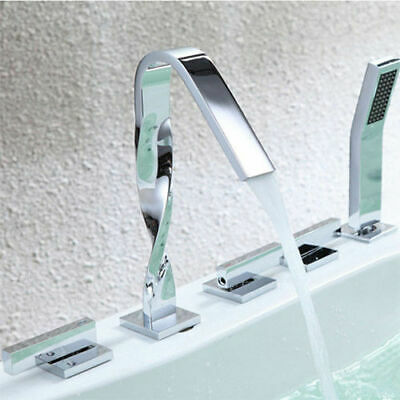 Contemporary Spiral 5 Pcs Solid Brass Roman Tub  Faucet with Handshower Filler