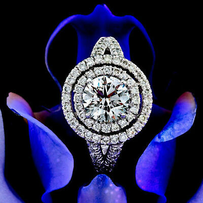 2 CT Round Cut Diamond Engagement Ring 14K White Gold Over All Size Available