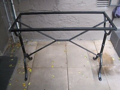 Table Base ONLY - Black Cast Iron and Metal for Rectangular Table