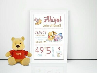 Personalised Baby Nursery Wall Art Print Birth Announcement Winnie the Pooh A4