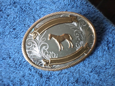 Vintage Belt Buckle #81L  JUSTIN Nickel Silver