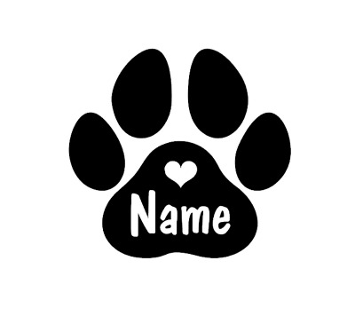 Paw Print Personalised Dog Name Decal Sticker Cat Pet Custom Made with Heart