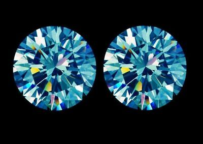 2 CTW Pair Blue Round Excellent Real Moissanite Diamond Gemstone Cut For Earring