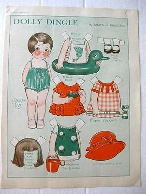August 1930 Dolly Dingles Papier Magazin Puppe Garten Outfits