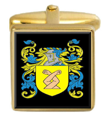 Select Gifts Sheekey Ireland Family Crest Surname Coat Of Arms Gold Cufflinks Engraved Box