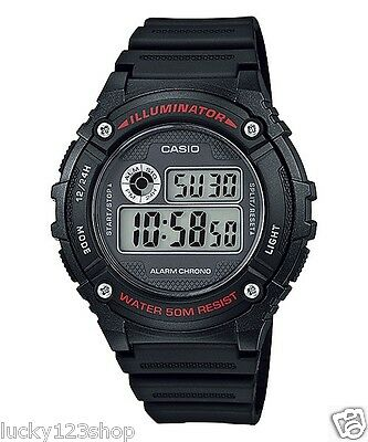 W-216H-1A Black Resin Band Digital  Alarms 7-Year Battery Life Men's Casio 50m