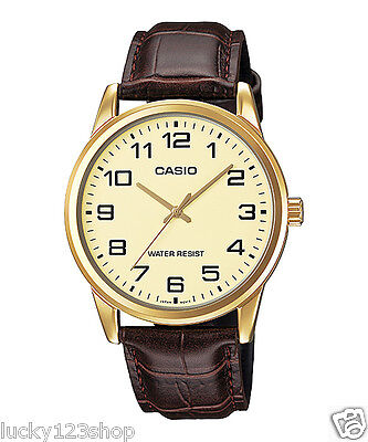 MTP-V001GL-9B Gold Casio Men Watch Geunine Leather Band Brand New