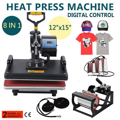 "15""X12"" 8 in 1 Heat Press Machine Transfer Sublimation T-Shirt Mug Hat Cap Plate"