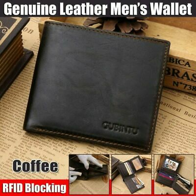 Genuine RFID Leather Mens Purse Bifold Credit Card Wallet Blocking Anti Scan