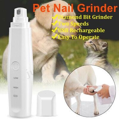 Electric Dog Cat Pet Claw Toe Nail Trimmer Care Grooming Grinder Clipper
