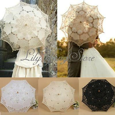Vintage Handmade Cotton Parasol Lace Umbrella Party Wedding Bridal Decoration !