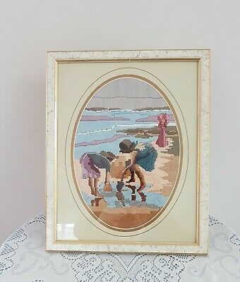 Vintage CHILDREN COLLECTING COCKLES AT BEACH Framed Complete LONG STITCH Picture