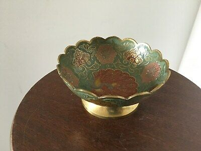 Vintage scoloped rim & painted Brass Bowl made in India Peacock Design