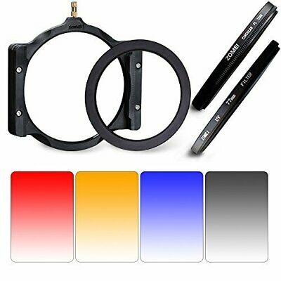 Zomei 8 in1 100X150mm GND Grey+Blue+Orange+Red&77 mm UV CPL Ring+Holder for DSLR