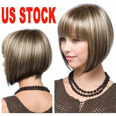 Women's Short Hair Full Wig Heat Resistant Synthetic Bob Wigs Cosplay Party Lot