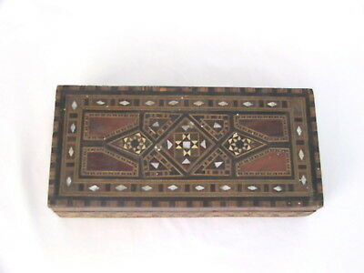 Antique Vintage Wooden Box with Decorative Mother of Pearl Inlay
